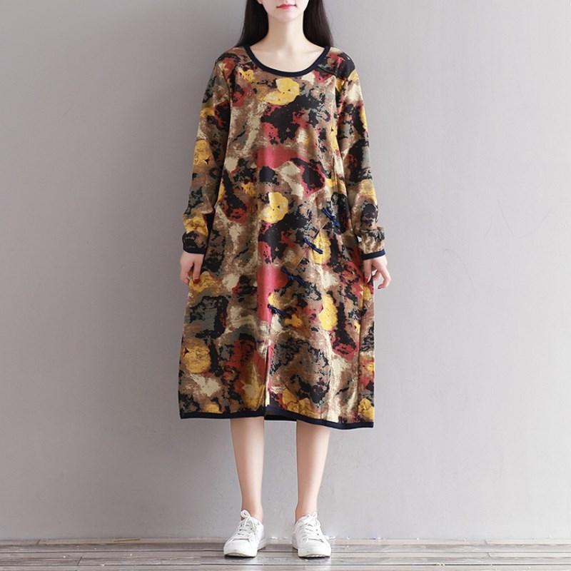 2017 NEW Fashion Women Dresses Elegant Leisure Long Sleeve O Neck Knitted Fabric Loose Version Chinese Button Casual Dress M-2XL fashion elegant m