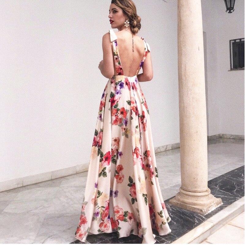 704bf747cbc Loneyshow 2018 Summer Dress Flower Printing Sleeveless maxi Dress Women Sexy  Deep V Neck Beach Long Dresses-in Dresses from Women s Clothing on ...