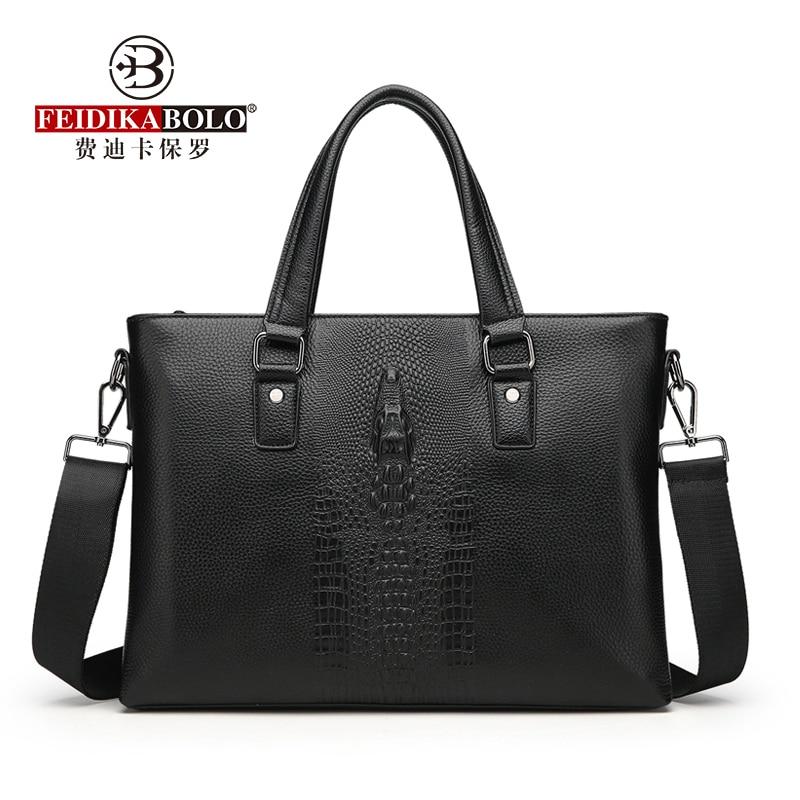 Cow Leather Alligator Men Handbags Famous Brand Men Messenger Bags Classic Business Men's Shoulder Bag Fashion Briefcase Bags