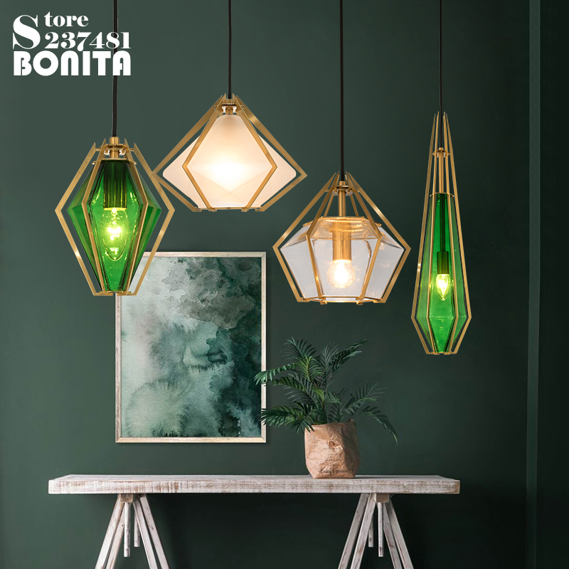 Diamond glass geometric pendant lights dinning room White green glass modern pendant lamp led Rhombus crystal droplight iron