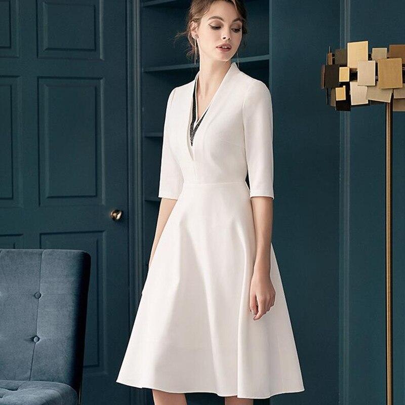 Demi manches femmes élégantes décontracté col en V a-ligne robes Robe Femme Vestido de Festa bureau dame Robe 2019 nouveau automne