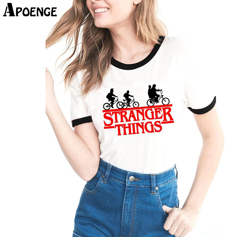 APOENGE COSAS EXTRAÑAS Mujeres Camiseta de Verano de Manga Corta Divertido Impreso de Algodón Blanco Camiseta Femme Harajuku Tops Bts QN756