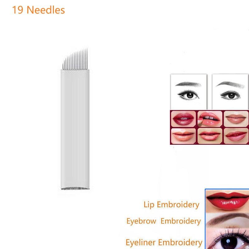 Aiguilles de tatouage maquillage permanent Lames de tatouage 100Pcs 19Pin 3D broderie sourcil lèvre Eyeline Lames de Microblading en acier inoxydable