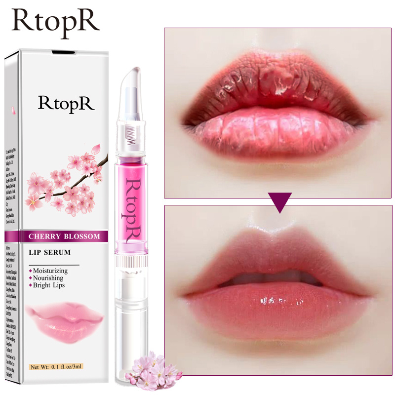 RtopR Cherry Blossom Lip Serum Reduce Lip Fine Line Essence Lip Mask Dry Crack Peeling Repair Lip Moisturizing Beauty Care TSLM1 image