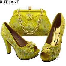Italy Shoe And Bag Set 2017 Yellow Color Italian Shoes With Matching Bags African