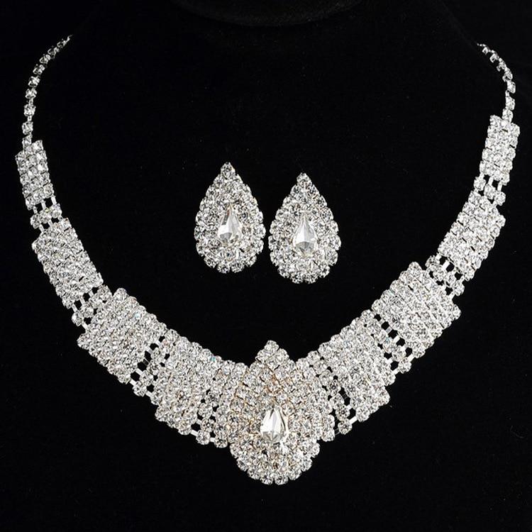 (5) - Bijoux De Mariage Luxueux, Goutte Boucle D'oreille Collier Ensemble Autriche Cristal,