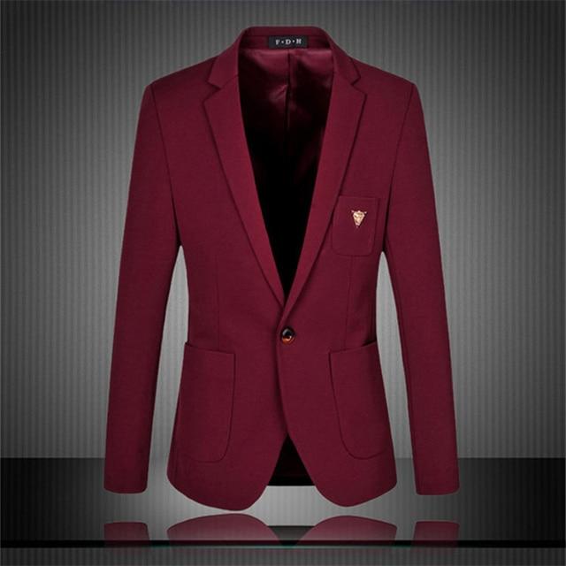 Men Formal Suit Blazer Coat Luxury Jackets Casual Men Slim Jaqueta  Masculina Blazer Designs Navy Blue 6e8bb5da95d8