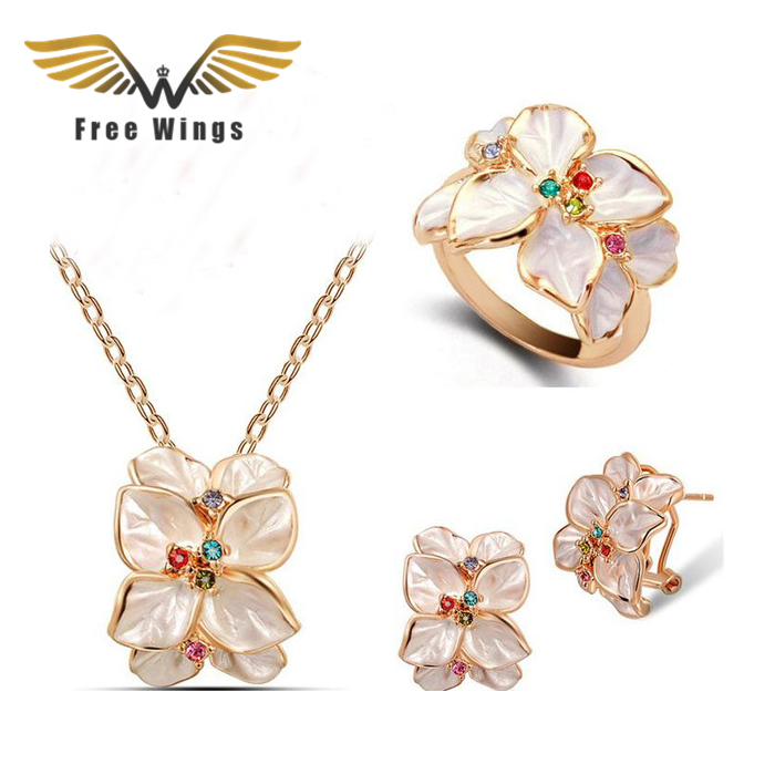 Rose Gold color Plated Austrian Crystal White Flower Wedding Necklaces Earrings Rings Jewelry Sets Bridal Jewellery For