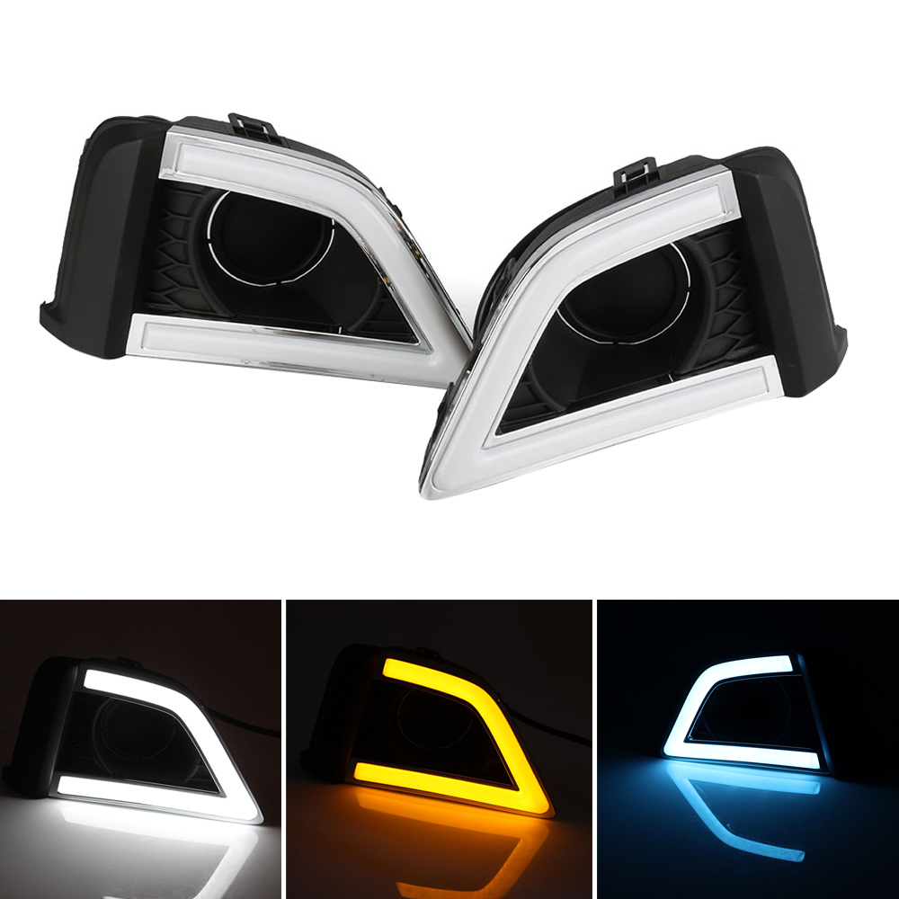 Auto Driving Daytime Running Light White Car Led Daylight Turn Signal Yellow Blue DRL For Honda Fit 2014-2016 Free Shipping D35 new auto car led light drl driving daytime running lights white yellow daylight for honda odyssey 2012 2014 free shipping d35