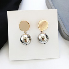 Earrings female temperament fashion simple jewelry earring to Europe and the United States The ball ball earrings geometry wafer цена 2017