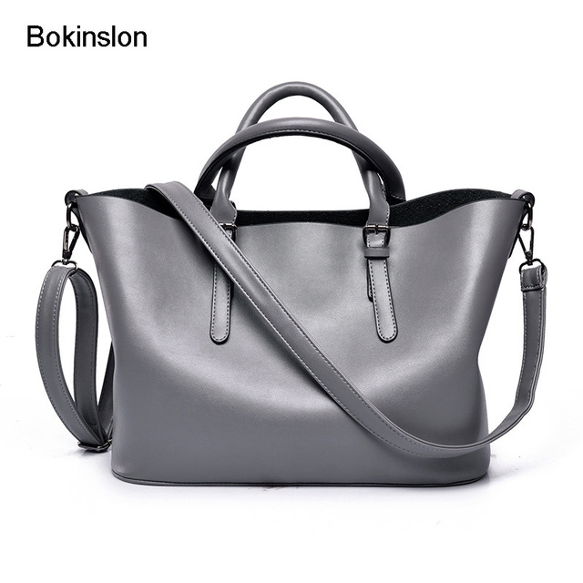 Bokinslon Handbags Brand Name Women Fashion Cow Split Leather Las Crossbody Bags Casual Solid Color Woman