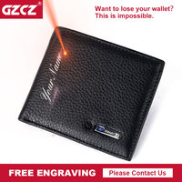 GZCZ Free Engraving Smart Wallet Men Genuine Leather High Quality Anti Lost Intelligent Bluetooth Bifold Purse Male Card Holders