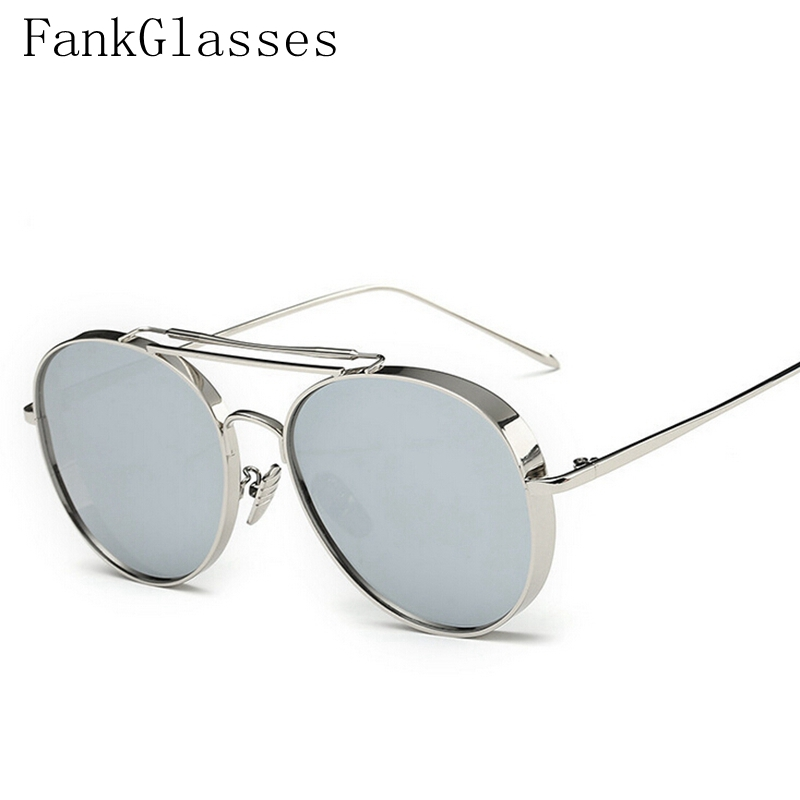 cheap sunglasses men pytf  High Quality Oversized Sunglasses Men Women Flat Top twin-bridge Luxury  Women Brand Designer UV400