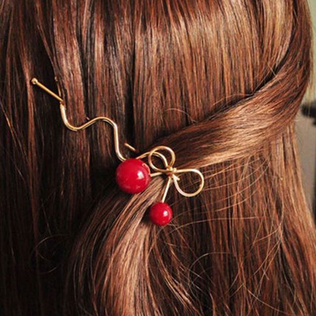 Red Cherry Bowknot Hairpin