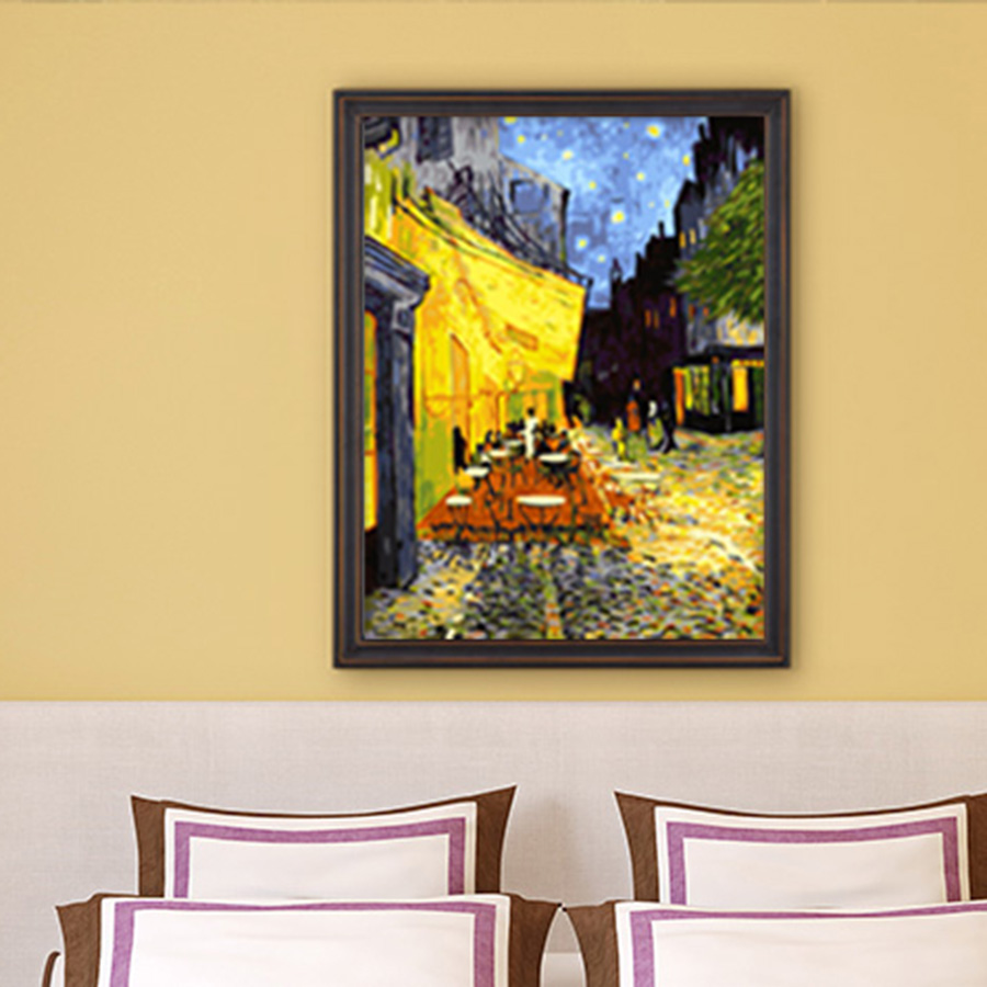 framed diy oil Painting sidewalk cafes coloring by numbers posters ...