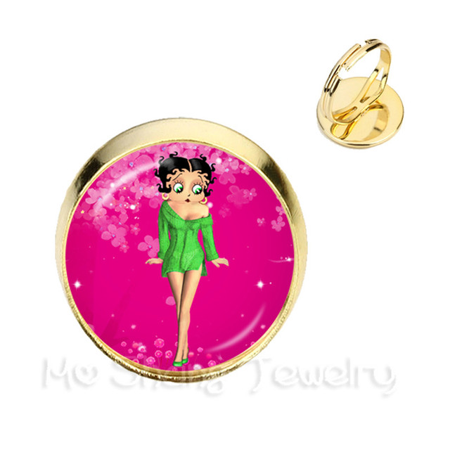 16mm Round Glass Cabochon Betty Boop Adjustable Rings For Friends Silver And Golden 2 Color Ring Can Be Selected Gift