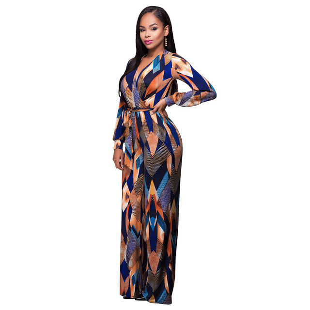 2017 Womens Jumpsuit Summer Fashion Long Sleeve Maxi Overalls Deep V Neck Belted Wide Leg Jumpsuit Long Pant Elegant Jumpsuits