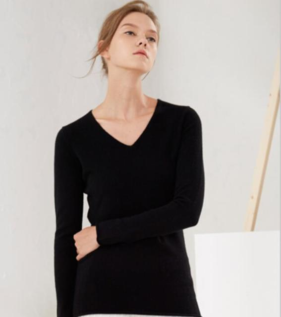 Women's Pure Cashmere Solid V-Neck Pullover Knitted Sweater Black Soft High Quality Free Shipping
