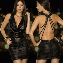 Langerie Sexy Erotic 2016 Womens Sexy Lingerie Black Backless Latex Leather Costume Erotic Night Clubwear Pole Dance Dress