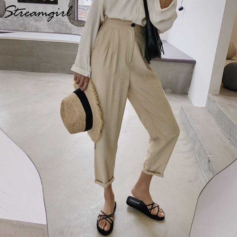 Women's High Waist Linen Pants White Classic Pantalon Femme Taille Haute Women Office Pants For Ladies Linen Trousers Women 2019