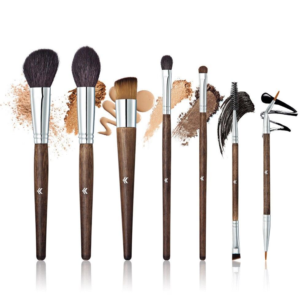 HUAMIANLI 7 pièces Pinceau de Maquillage De Cheveux De Chèvre Fard À Paupières Pinceaux Poudre Blush Bois Poignée Mélange Cosmétique de Haute Qualité Outils