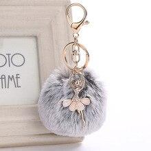 8cm New Dance BALLET Girl Keyrings Rex Rabbit Fur Ball PomPom key chain Charm Car Keychain Handbag Key Ring Pendant 6 colors