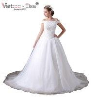 VARBOO ELSA Luxury Beaded Sequined White Bridal Gowns Dubai 2017 Custom Made Sexy Boat Neck Wedding