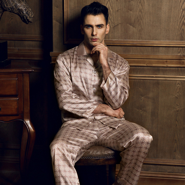 2017 spring and summer autumn South Korea silk men's pajamas long-sleeved thin printed silk pajamas home service