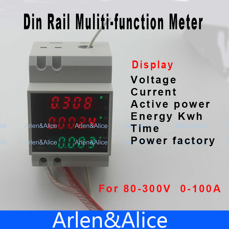 Din Rail LED Voltmeter Ammeter Active Power And Power Factor Time Energy Meter Voltage Current AC 80-300V 0-100.0A