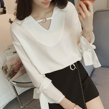 2017  Spring Korean New Fashion Wild Solid V-collar Flanging Lace Loose Thin Chiffon Female Shirt Blouse