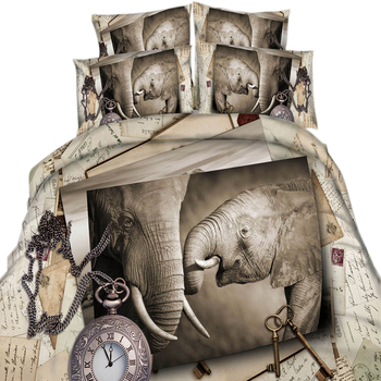 Home Textiles Modern Gray Design 3d Elephant Pattern 100% Cotton Twin/Queen/King Size 3/4 Pieces High Quality Comforter Sets