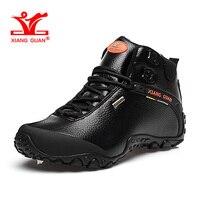 XIANGGUAN Man Hiking Shoes Hight Men Leather Trekking Boots Black Waterproof Sports Climbing Shoe Trend Outdoor