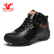 XIANGGUAN Man Hiking Shoes Hight Men Leather Trekking Boots Black Waterproof Sports Climbing Shoe Trend Outdoor Walking Sneakers