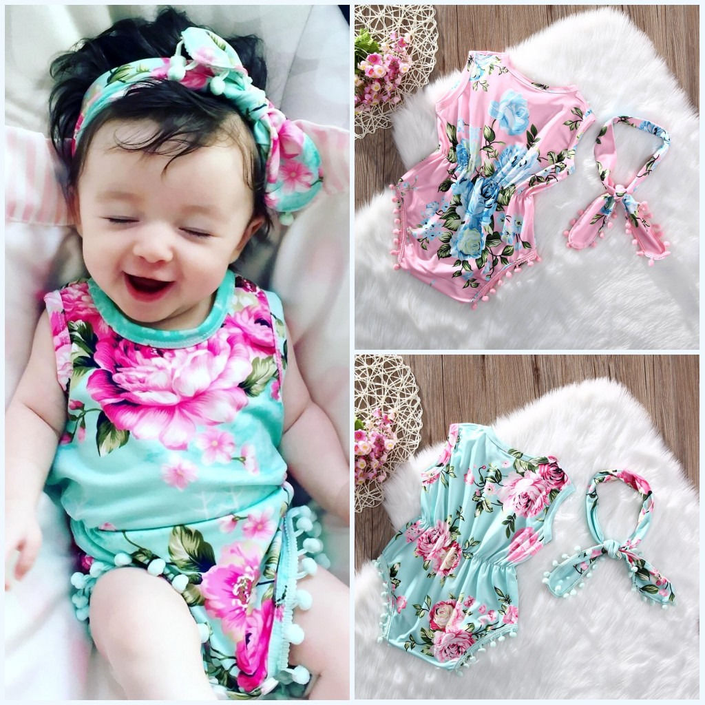 Newborn Toddler Baby Girls Floral Romper Playsuit Jumpsuit+Headband 2Pcs Outfits