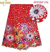 Wholesale Price High Quality African Tulle Lace fabric.Multi Color african cord lace for party dress   NFN1607-19