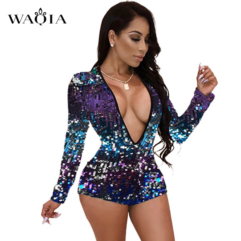 2018 New Charming Colorful Sequins Jumpsuit Rompers Women Long Sleeve Sexy Deep V Neck Bodysuit Xmas Party Nightclub Playsuits floral chiffon dress long sleeve