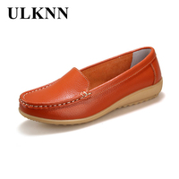 2016 New Women S Genuine Leather Shoes Lady Flat Leather Slip On Casual Loafers Shoes Red