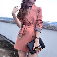 Striped long blazer Women Striped 2018 new Autumn Double Breasted Business Office Blazers Women casual ladies suit with belt
