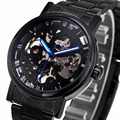 WINNER Men Watches Classic Black Automatic Mechanical Watch Cool Black Skeleton Unisex Watch HOT TOP LUXURY BRAND with GIFT BOX