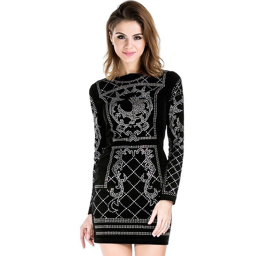 Studded Geometric Black Party Dress Long Sleeves Bodycon Sheath High Quality