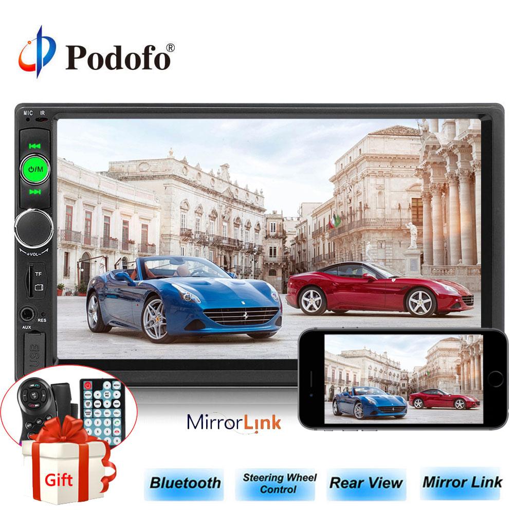 """Podofo 2Din 車ラジオ 7 """"Bluetooth MP5 プレーヤーインダッシュタッチスクリーンデジタル表示、 Fm/USB マルチメディア USB ミラーリンク Autoradio  グループ上の 自動車 &バイク からの 車 ラジオ の中 1"""