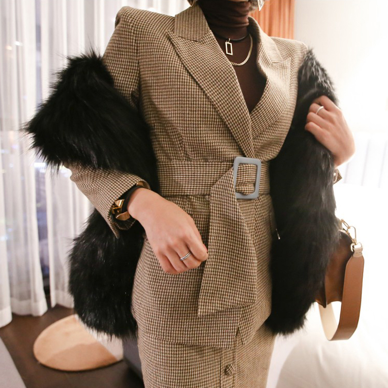 Vintage Plaid Women Skirt Suit Slim Waist Sashes Blazer & High Waist Single Breasted Pencil Skirt OL Style 2 Pieces Set 2019