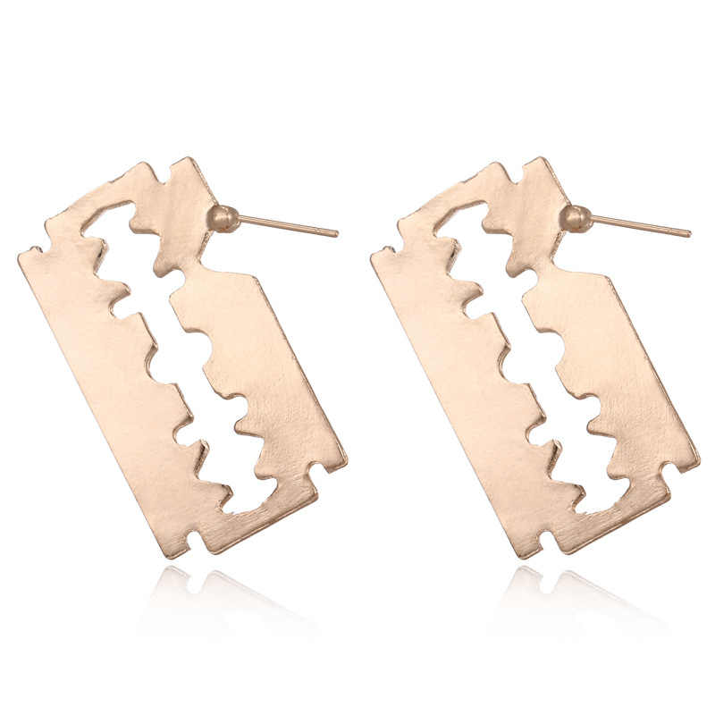 Punk Gold Silver Metal Sawtooth Razor Blade Earrings Hollow Geometric Knife Statement Exaggeration Stud Earrings For Women Gift