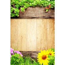 Laeacco Spring Green Leaves Flowers Wooden Boards Portrait Natural Scene Photographic Background Photo Backdrop For Studio