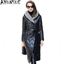 AYUNSUE 2019 Genuine Leather Jacket Real Sheepskin Coat Natural Knitted Mink Fur Hooded Long Women's Down Jackets HQ18-CJX0095B(China)