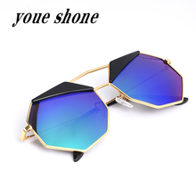 Fashion Sunglasses Classic Brand Glasses Coating Designer polygon Mirror Glasses Oculos De Sol men With Box cat's eye Polaroid