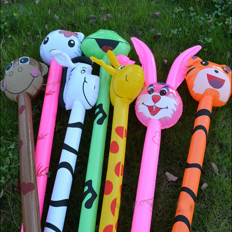 free shipping 20pcs Cartoon Inflatabel Animal Long Inflatable Hammer No wounding weapon Stick Children Toys
