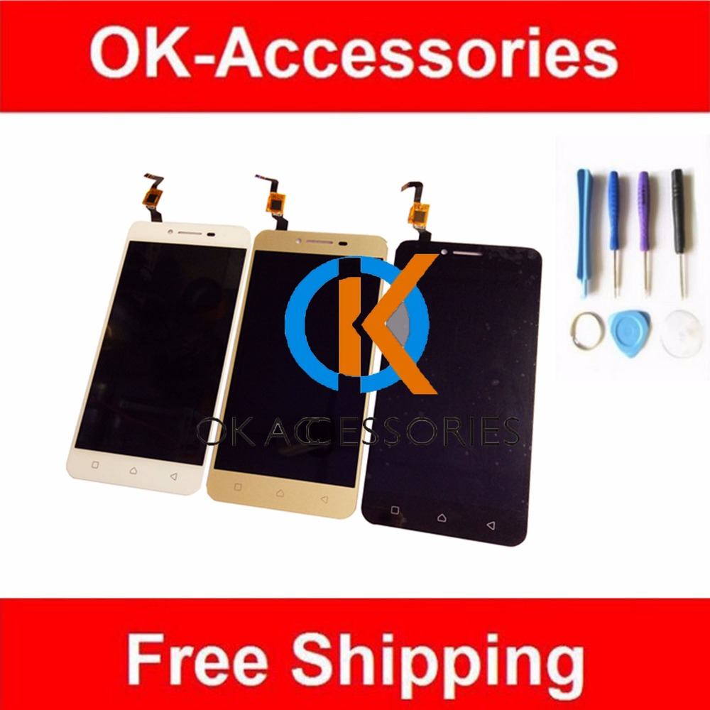 Free Tools Black White Gold Color For Lenovo Vibe K5 Plus A6020 A6020 a46  LCD Display+Touch Screen Digitizer Assembly 1PC/Lot аксессуар чехол lenovo k10 vibe c2 k10a40 zibelino classico black zcl len k10a40 blk