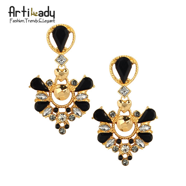 Artilady gold plated crystal drop earrings  fashion 2015 winter design vintage  women earring jewelry free shipping