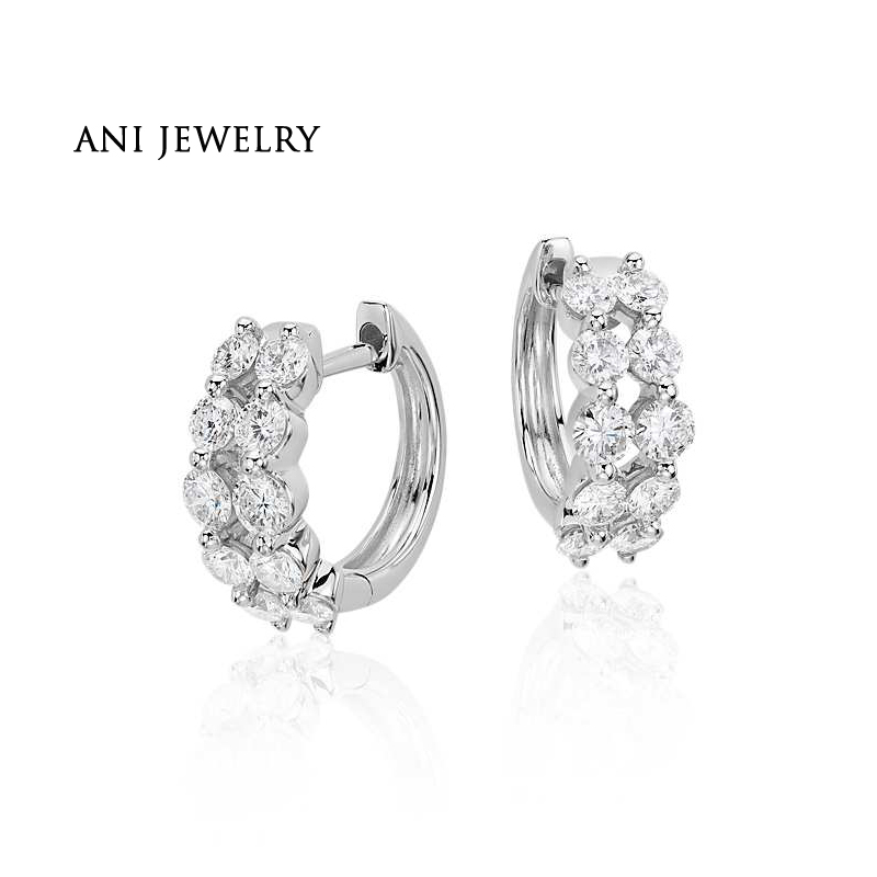 ANI 18k White Gold Women Circle Earrings 0.95 CT Certified I/S1 Natural Diamond 2 Rows Drill Hoop Circle Earrings Fine Jewelry faux pearl bead circle hoop earrings